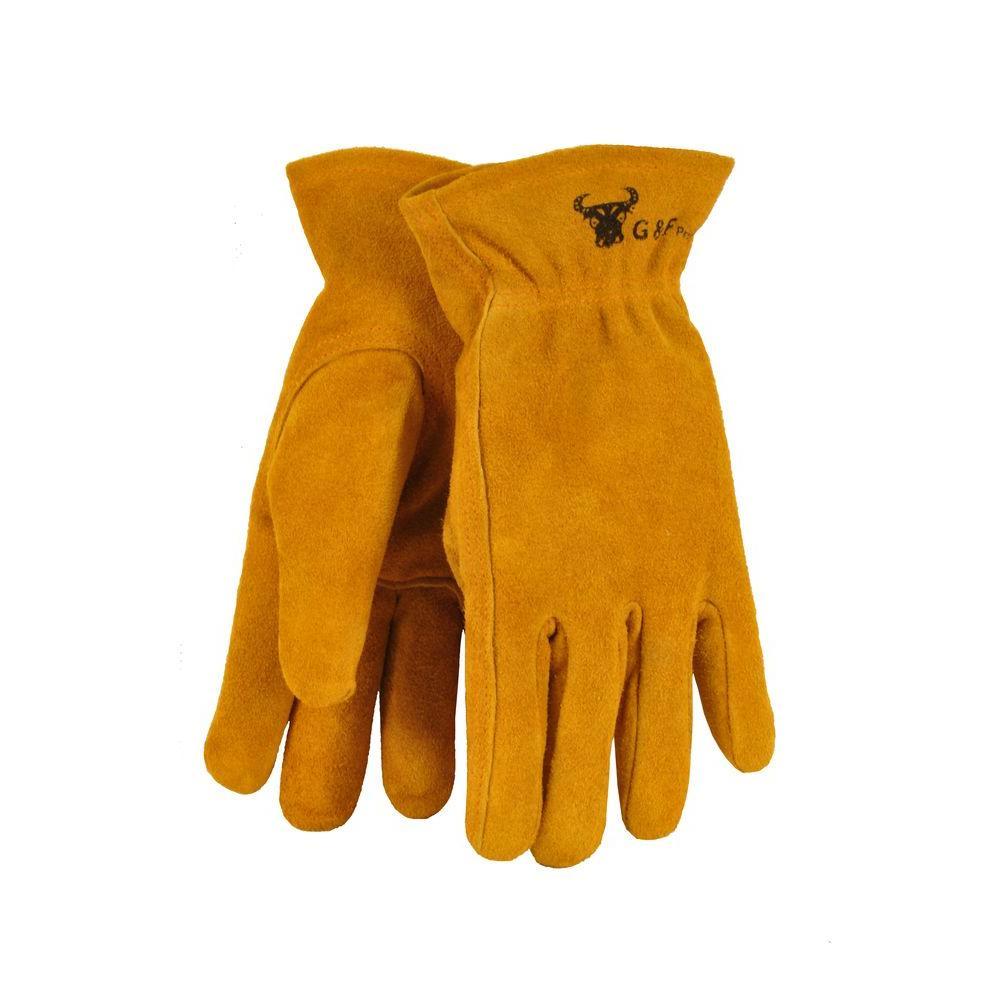 G & F Brown Kid's Leather Work Gloves