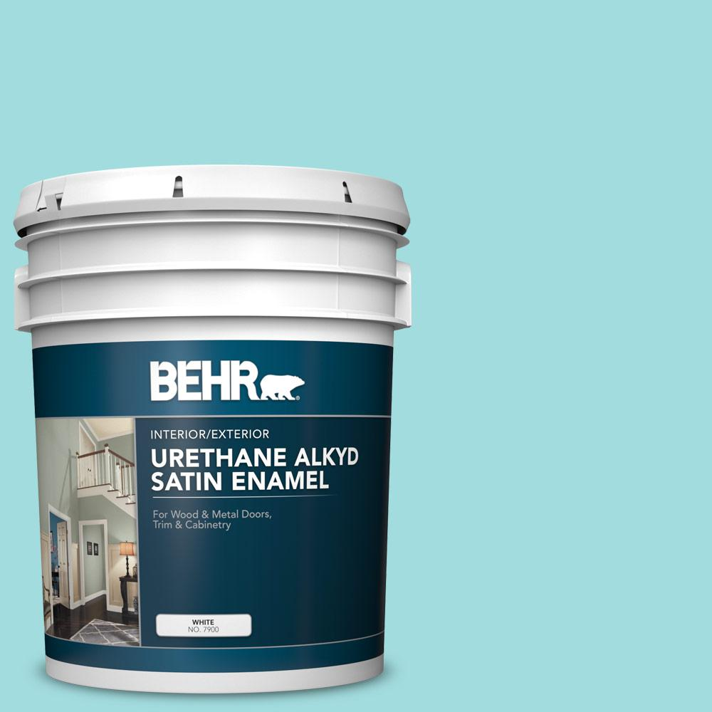 BEHR 5 gal  #500A-3 Aqua Spray Urethane Alkyd Satin Enamel  Interior/Exterior Paint