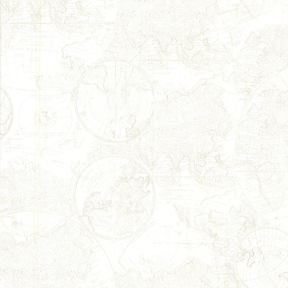 Cartography Off White Vintage World Map Wallpaper