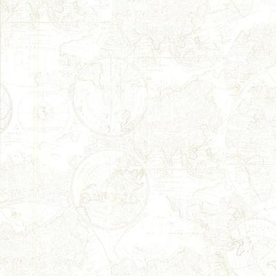 56.4 sq. ft. Cartography Off-White Vintage World Map Wallpaper