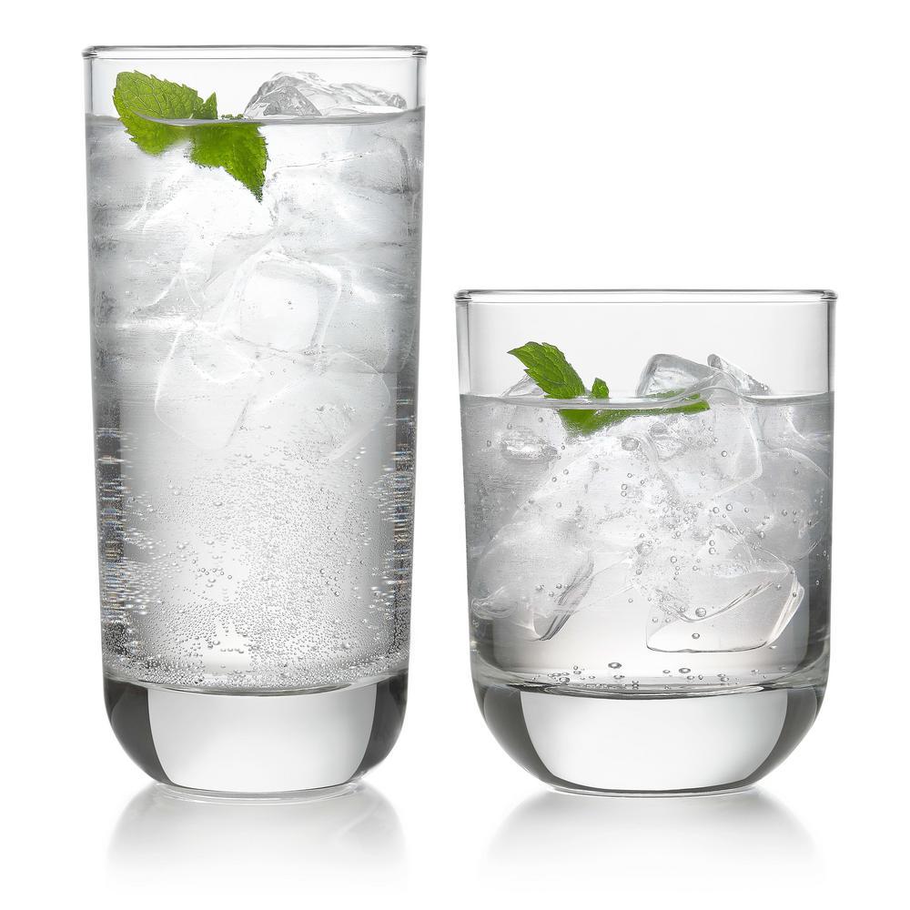 Polaris 16-Piece Clear Glass Drinkware Set