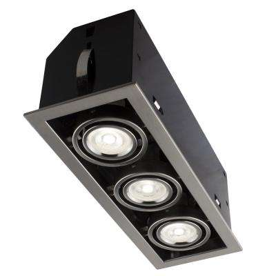 13 in. Triple Cube Brushed Chrome Recessed LED Lighting Kit with GU10 Bulb Included