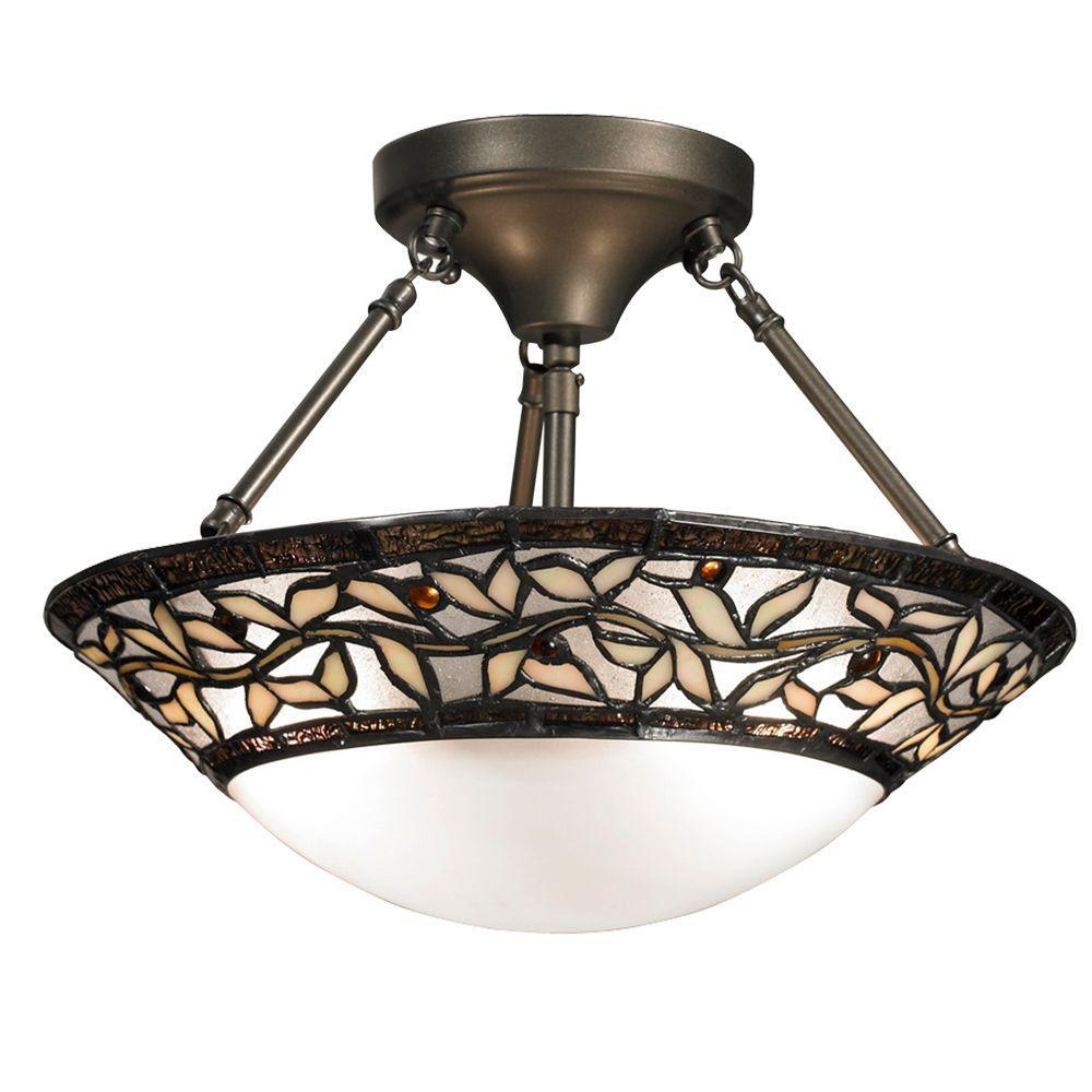 Springdale Lighting Cyprus Oaks 2-Light Dark Bronze Art Glass Semi-Flush Mount Light