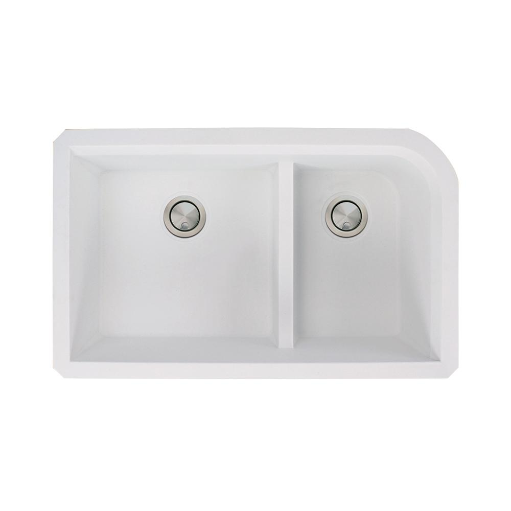 Radius Undermount Granite 32 in. 1-3/4 J-Shape Double Bowl Kitchen Sink