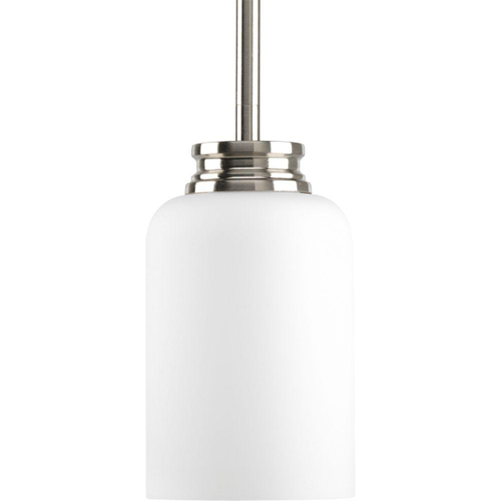 Exceptional Progress Lighting Orbit Collection 1 Light Brushed Nickel Mini Pendant With  Opal Etched Glass P5114 09   The Home Depot