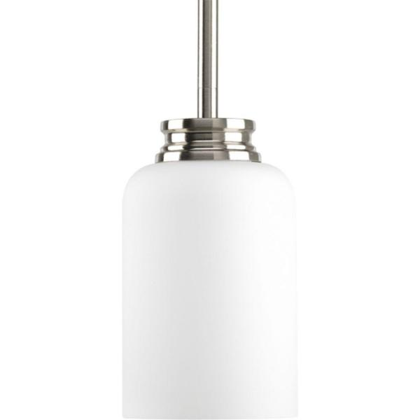 Orbit Collection 1-Light Brushed Nickel Mini Pendant with Opal Etched Glass