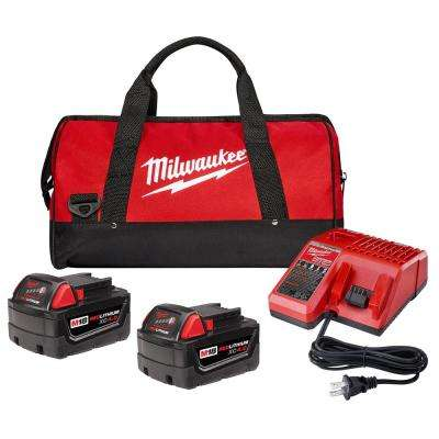 M18 18-Volt Lithium-Ion XC Starter Kit with Two 4.0 Ah Batteries, Charger and Contractor Bag