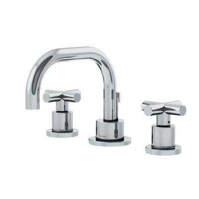 Dia 8 In Widespread 2 Handle Low Arc Bathroom Faucet With Cross Handles