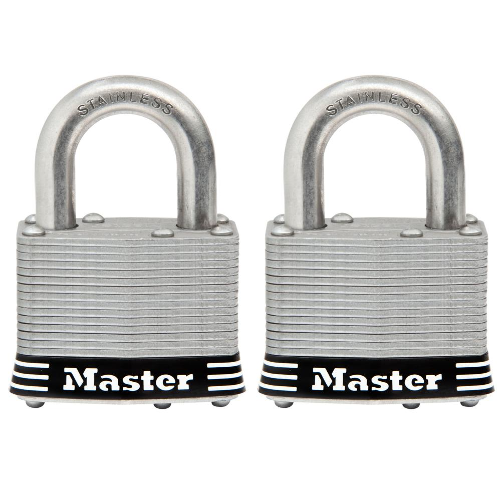 5161db855dbe Master Lock 5SST 2 in. Laminated Stainless Steel Keyed Padlock with 1 in.  Shackle (2-Pack)
