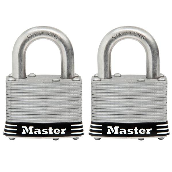 5SST 2 in. Laminated Stainless Steel Keyed Padlock with 1 in. Shackle (2-Pack)