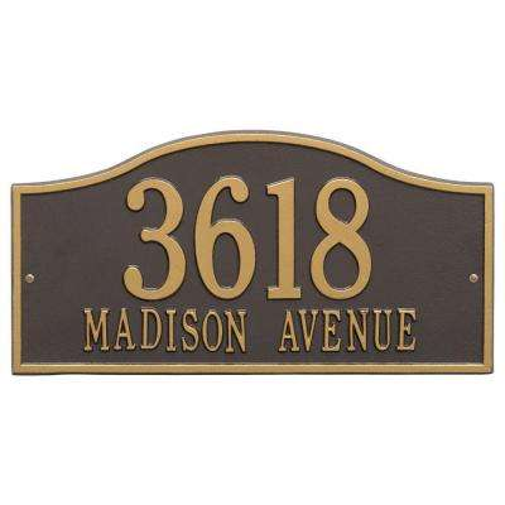 Rolling Hills Rectangular Bronze/Gold Grande Wall 2-Line Address Plaque