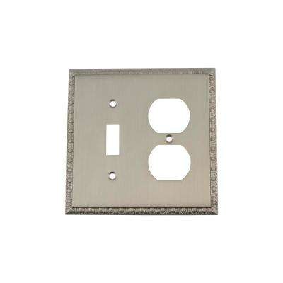 Egg and Dart Switch Plate with Toggle and Outlet in Satin Nickel
