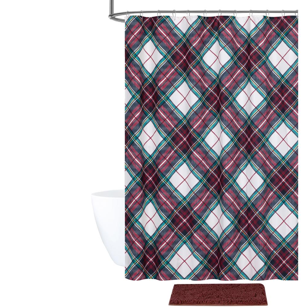 Plaid Shower Curtain And Bath Rug Set 14 Piece
