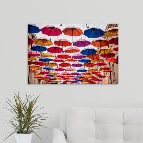 30 In X 20 In Colorful Umbrellas In Bath England Uk Horizontal By Circle Capture Canvas Wall Art