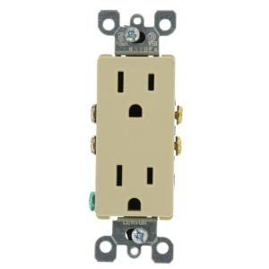 leviton decora 15 amp residential grade grounding duplex outlet ivory 5325 i the home depot. Black Bedroom Furniture Sets. Home Design Ideas