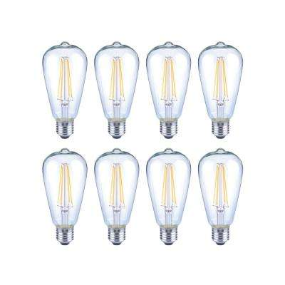 40-Watt Equivalent ST19 Antique Edison Dimmable Clear Glass Filament Vintage Style LED Light Bulb Daylight (8-Pack)