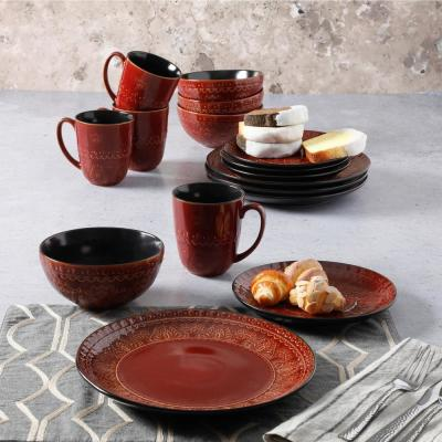 Milanto 16-Piece Red Dinnerware Set (Service for 4)