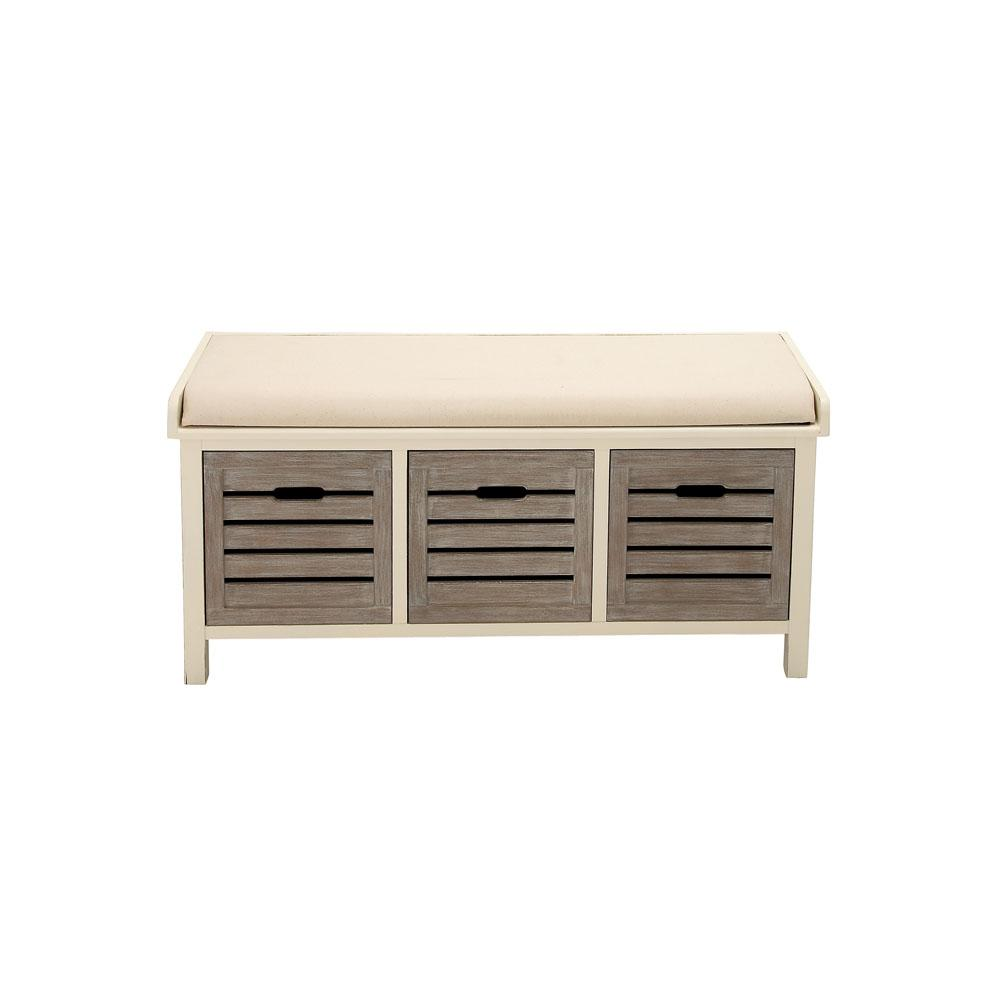 White Wood And Fabric Cushioned 3 Drawer Storage Bench