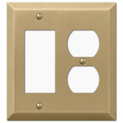 Metallic 2 Gang 1-Duplex and 1-Rocker Steel Wall Plate - Brushed Bronze