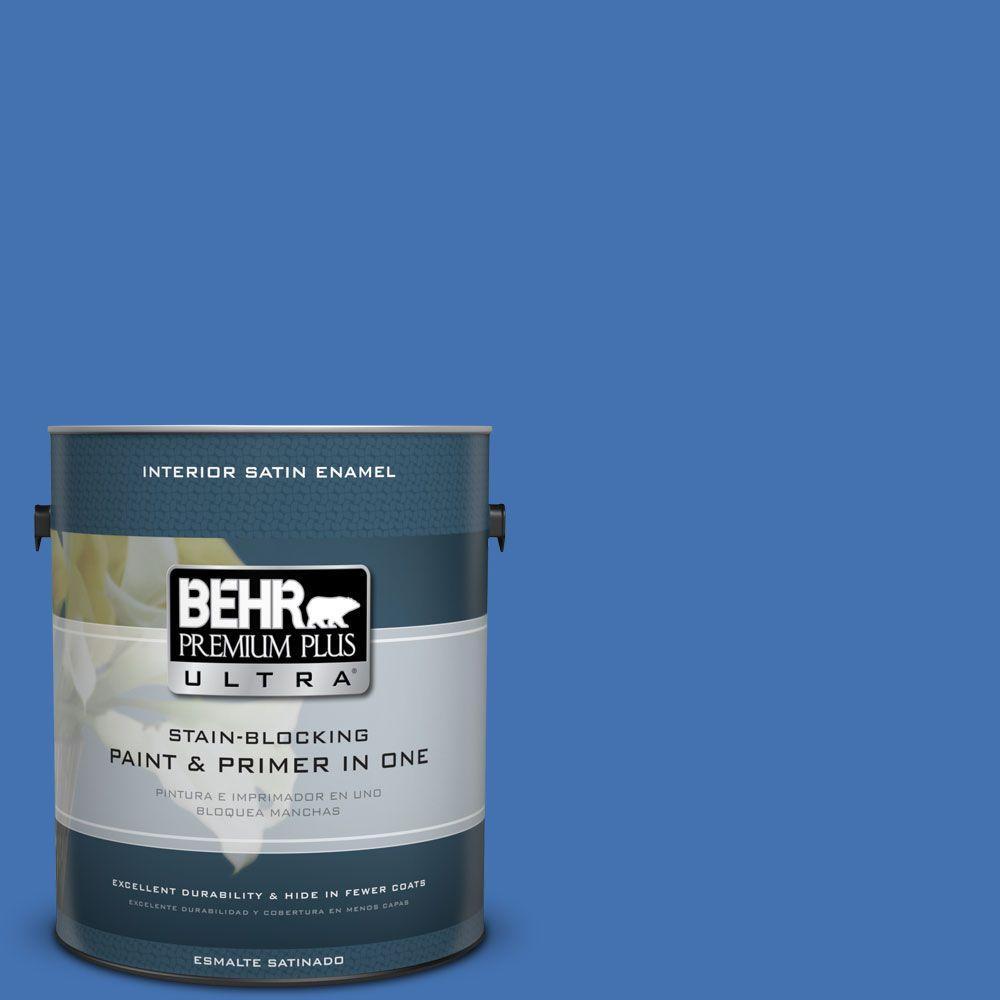 1 gal. #HDC-SM16-07 Croquet Blue Satin Enamel Interior Paint