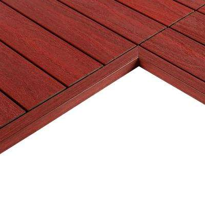 1/6 ft. x 1 ft. Quick Deck Composite Deck Tile Inside End Corner Fascia in Swedish Red (2-Piece/Box)