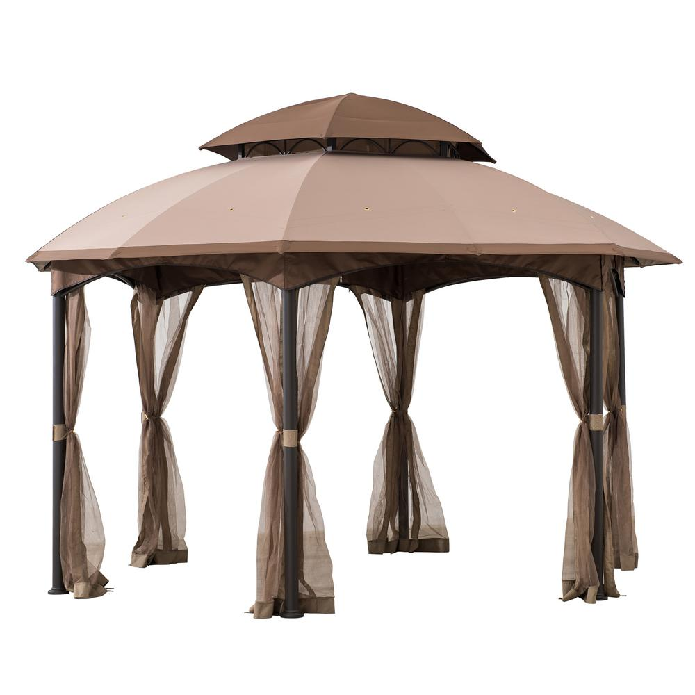 Sunjoy Bourbon 13 Ft X 13 Ft Brown Steel Gazebo With 2 Tier Tan And Brown Dome Canopy And Mosquito Netting A101011800 The Home Depot