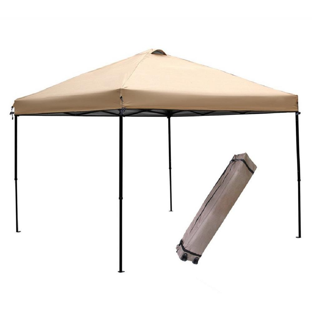 Pop Up Canopy Tent >> Abba Patio 10 Ft X 10 Ft Tan Pop Up Outdoor Canopy Tent Apfga1010n