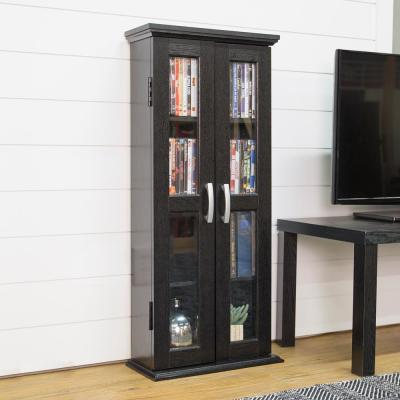 "41"" Transitional Wood Bookcase Storage Cabinet - Black"