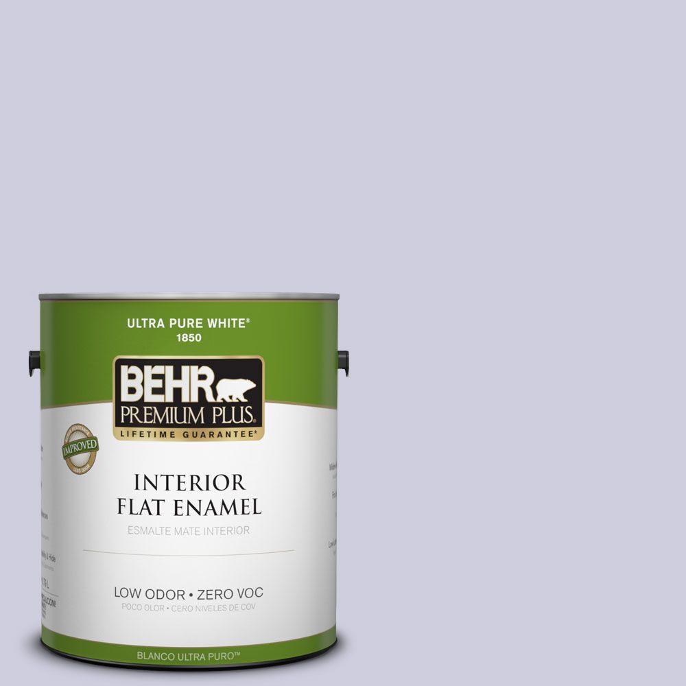 BEHR Premium Plus 1-gal. #640C-2 Lavender Sparkle Zero VOC Flat Enamel Interior Paint-DISCONTINUED