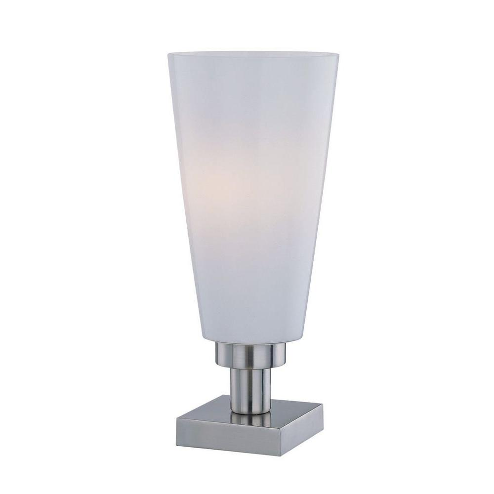 Illumine 15 in. Polished Steel Table Lamp with Frost Glass Shade