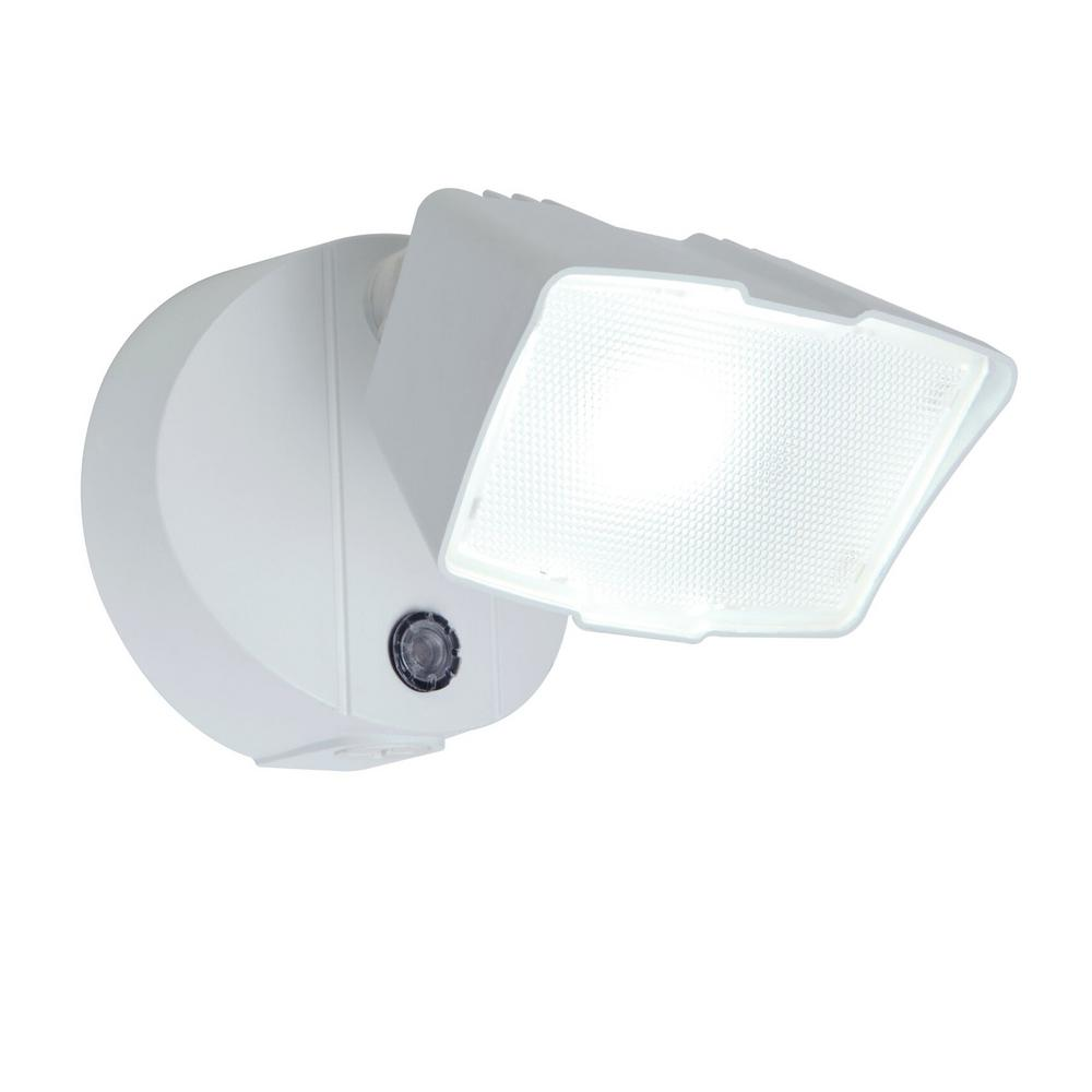 LUTEC White Outdoor Integrated LED Dusk To Dawn Flood