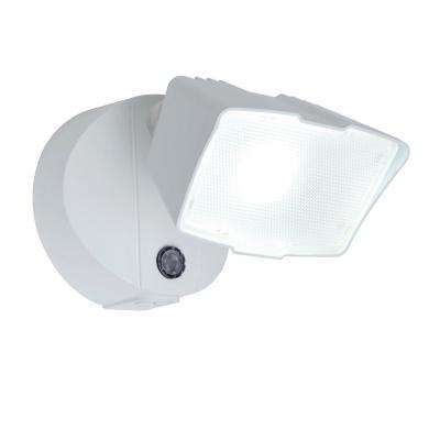 White Outdoor Integrated LED Dusk to Dawn Flood Light