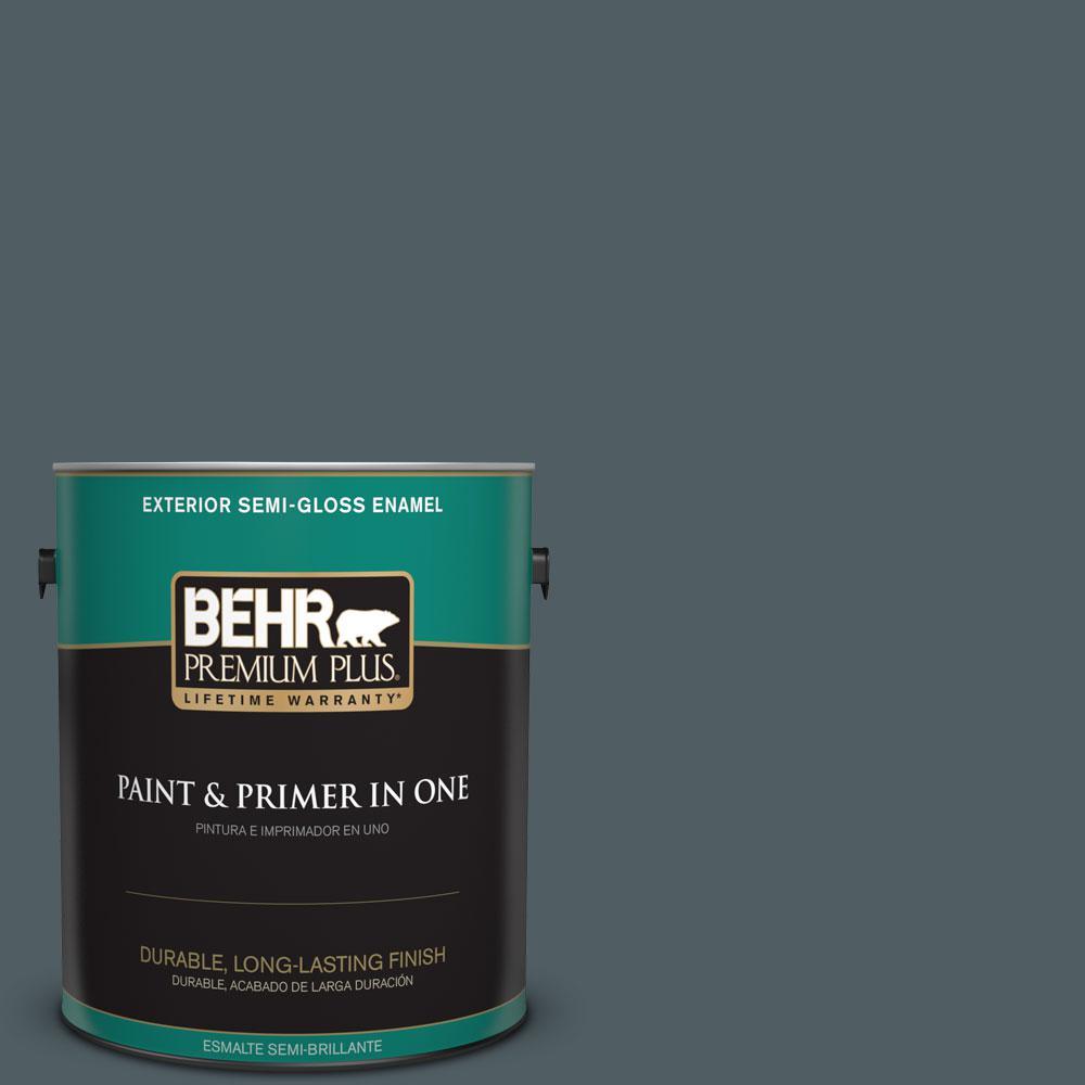 BEHR Premium Plus 1-gal. #740F-6 Marine Magic Semi-Gloss Enamel Exterior Paint