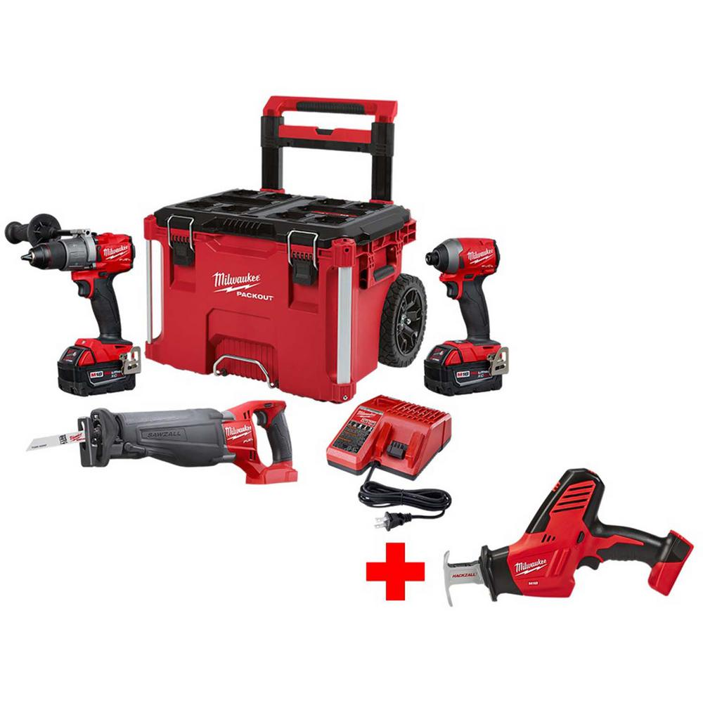 Milwaukee M18 FUEL 18-Volt Lithium-Ion Brushless Cordless Combo Kit 3-Tool with Free M18 Hackzall Saw and PACKOUT Rolling Tool Box