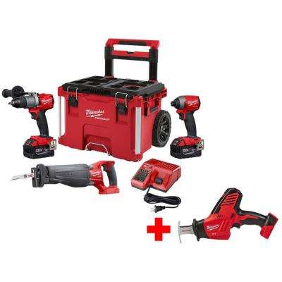 M18 FUEL 18-Volt Lithium-Ion Brushless Cordless Combo Kit 3-Tool with Free M18 Hackzall Saw and PACKOUT Rolling Tool Box