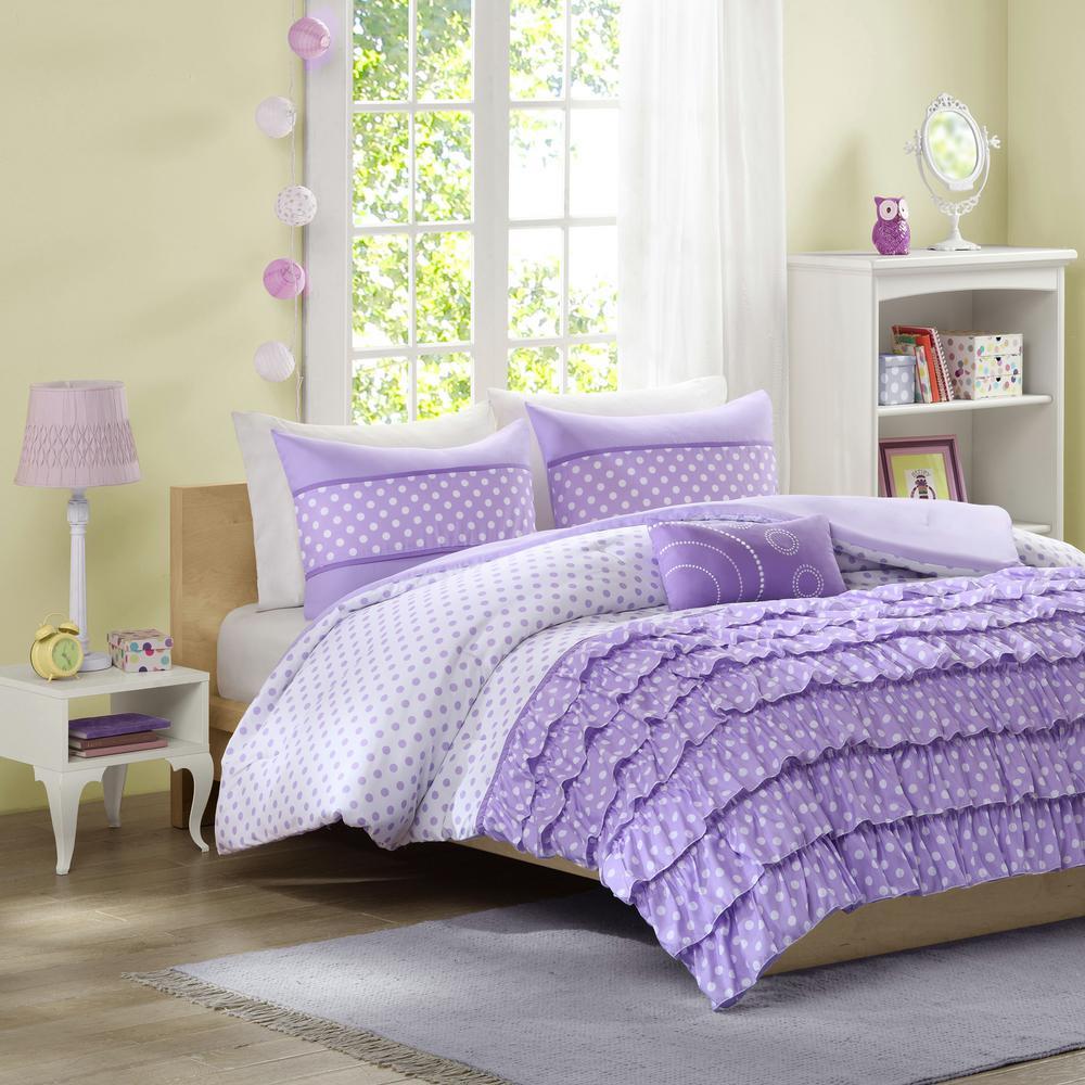 Ellen 4-Piece Purple Full/Queen Print Comforter Set