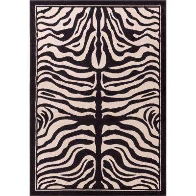 Dulcet Zebra Ivory 8 ft. x 10 ft. Animal Print Area Rug
