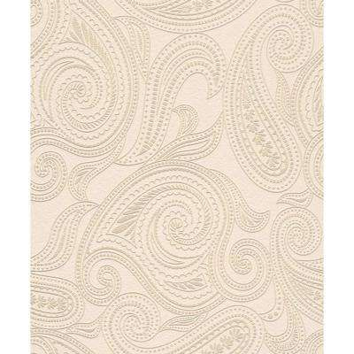Tan Paisley Print Wallpaper