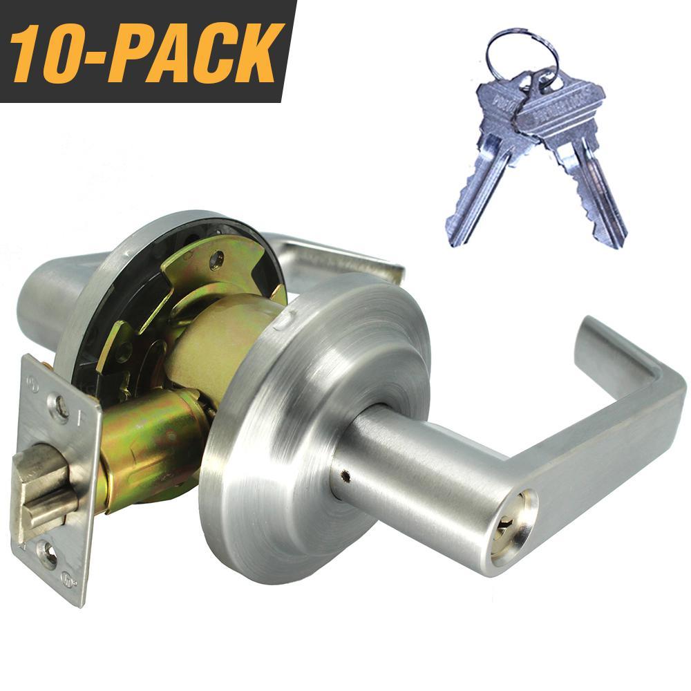 Heavy-Duty Satin Chrome Grade 2 Switch Style Entry Storeroom Lever Lock Set with 20 SC1 Keys (10-Pack,Keyed Alike)