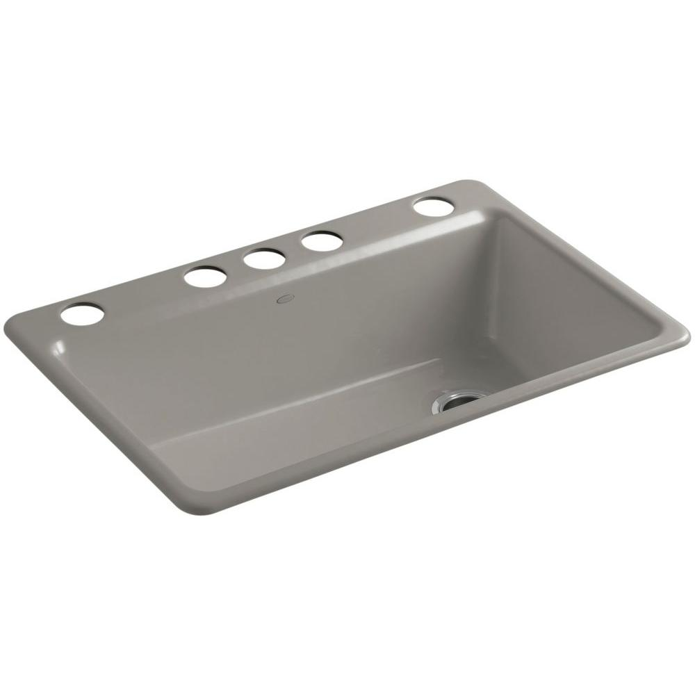 KOHLER Riverby Undermount Cast-Iron 33 in. 5-Hole Single Bowl ...