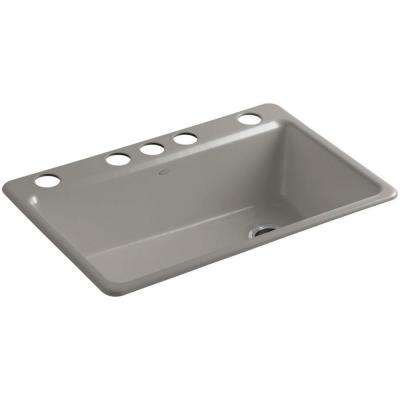Riverby Undermount Cast-Iron 33 in. 5-Hole Single Bowl Kitchen Sink Kit with Accessories in Cashmere