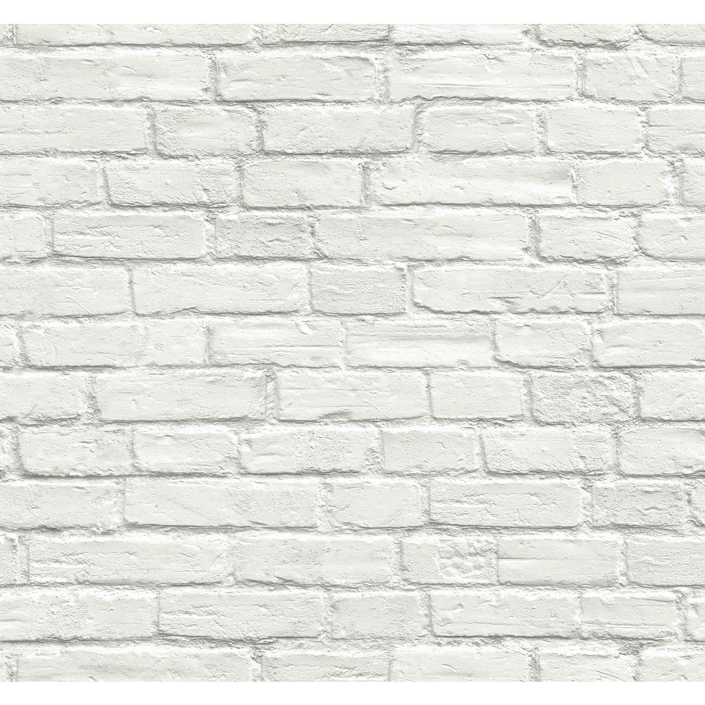 NextWall Vintage White Brick Peel and Stick Wallpaper ...