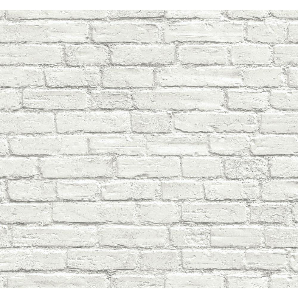 Vintage White Brick Vinyl Peelable Wallpaper (Covers 30.75 sq. ft.)