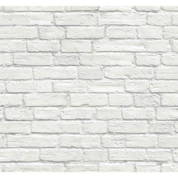 Vintage White Brick Vinyl Peelable Wallpaper (Covers 30.75 sq. ft.)