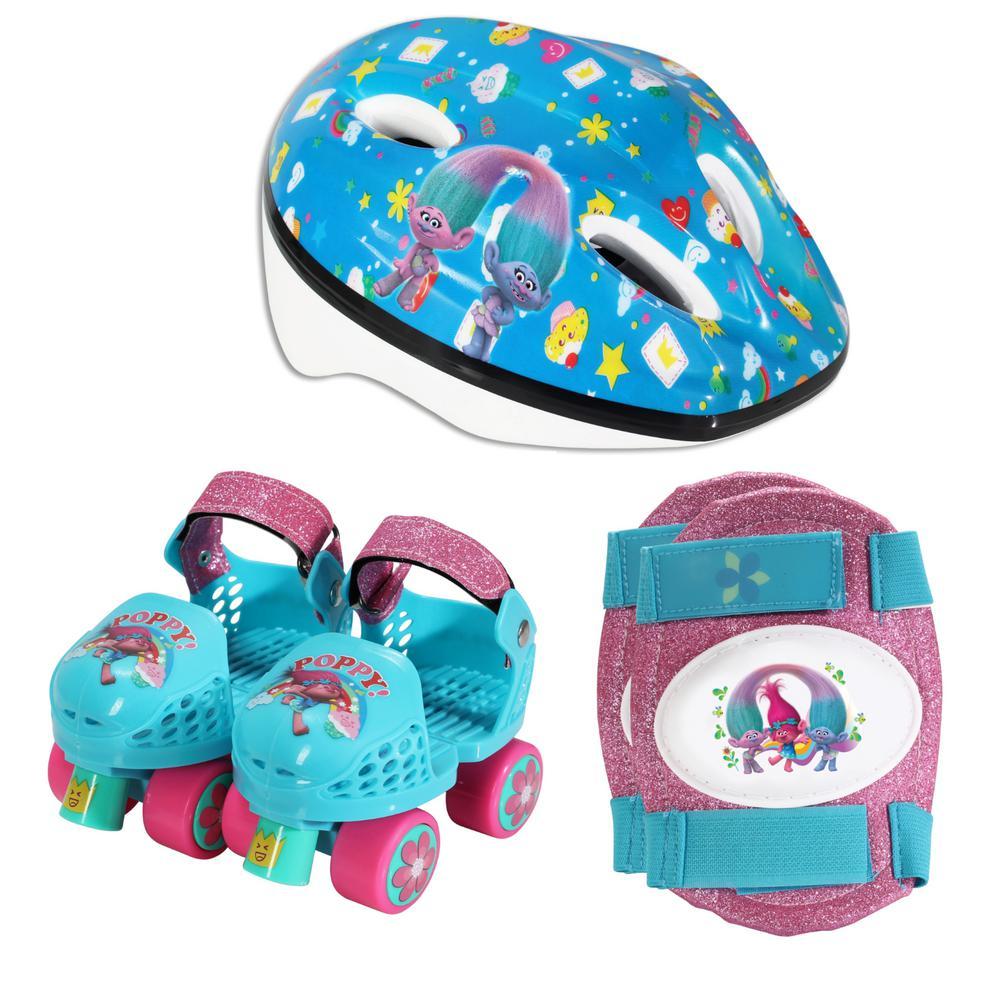 Playwheels Trolls Junior Size 6-12 Roller Skates with Knee Pads and Helmet