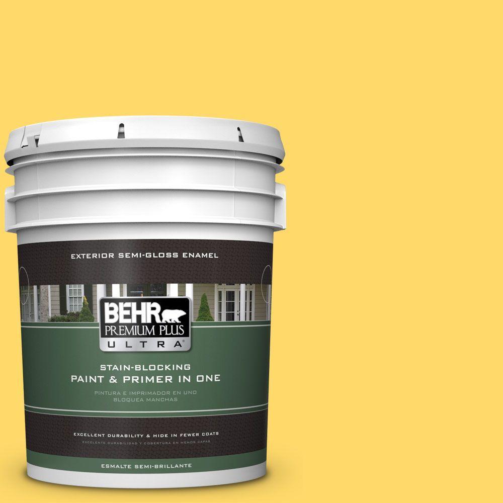 BEHR Premium Plus Ultra 5-gal. #360B-5 Citrus Semi-Gloss Enamel Exterior Paint
