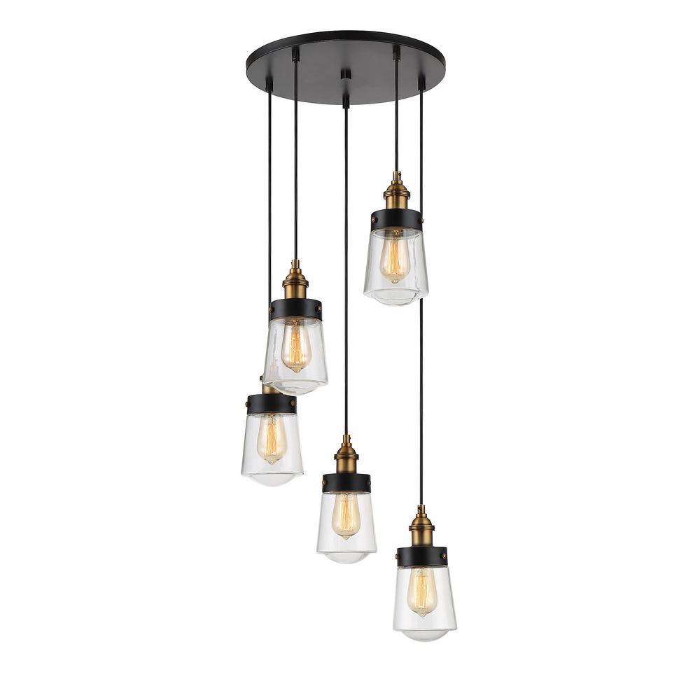 Filament Design 5 Light Vintage Black With Warm Br Multi Point Chandelier