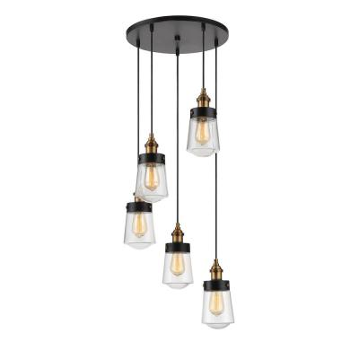 5-Light Vintage Black with Warm Brass Multi Point Chandelier