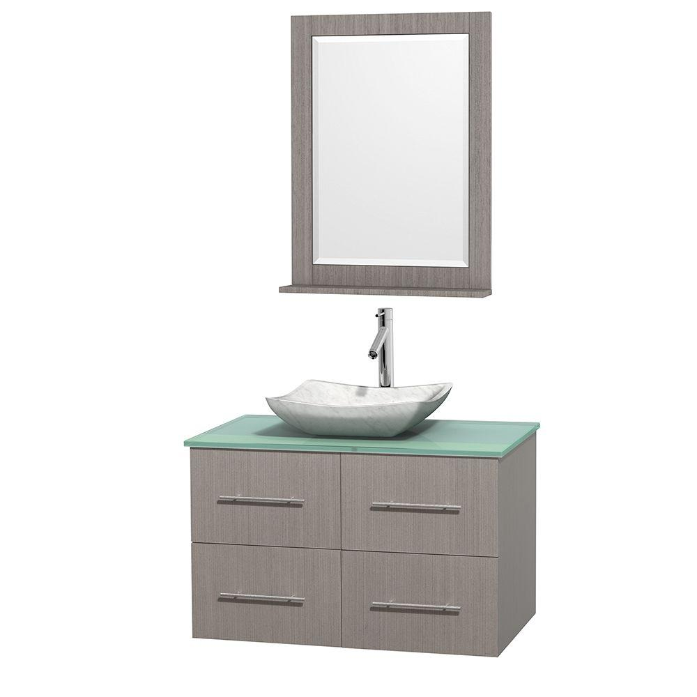 Wyndham Collection Centra 36 in. Vanity in Gray Oak with Glass Vanity Top in Green, Carrara White Marble Sink and 24 in. Mirror