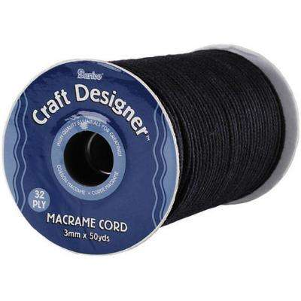 32 Ply 3 mm x 50 yds. Black Macrame Cord Spool
